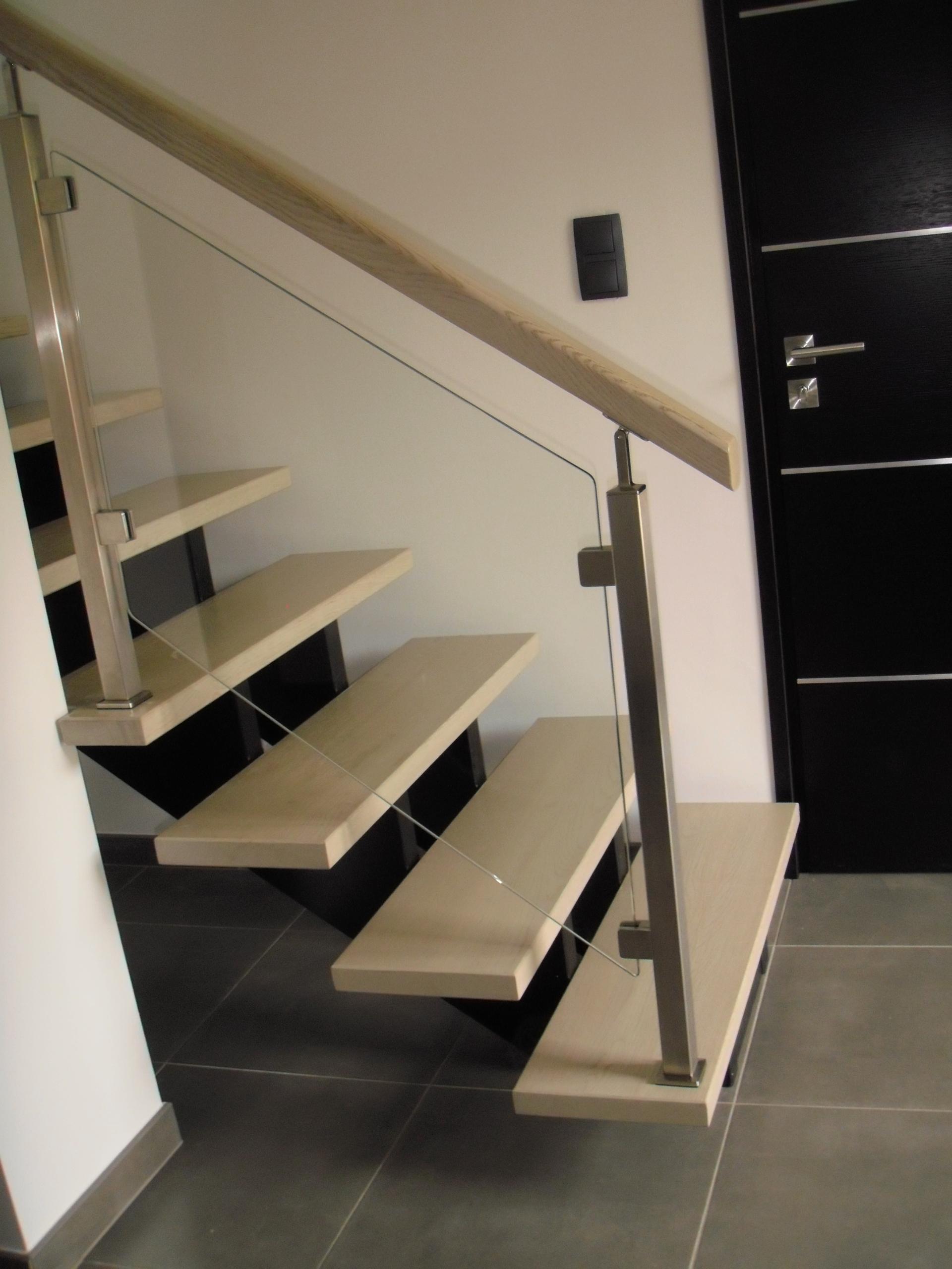 Escalier crémaillère inox verre